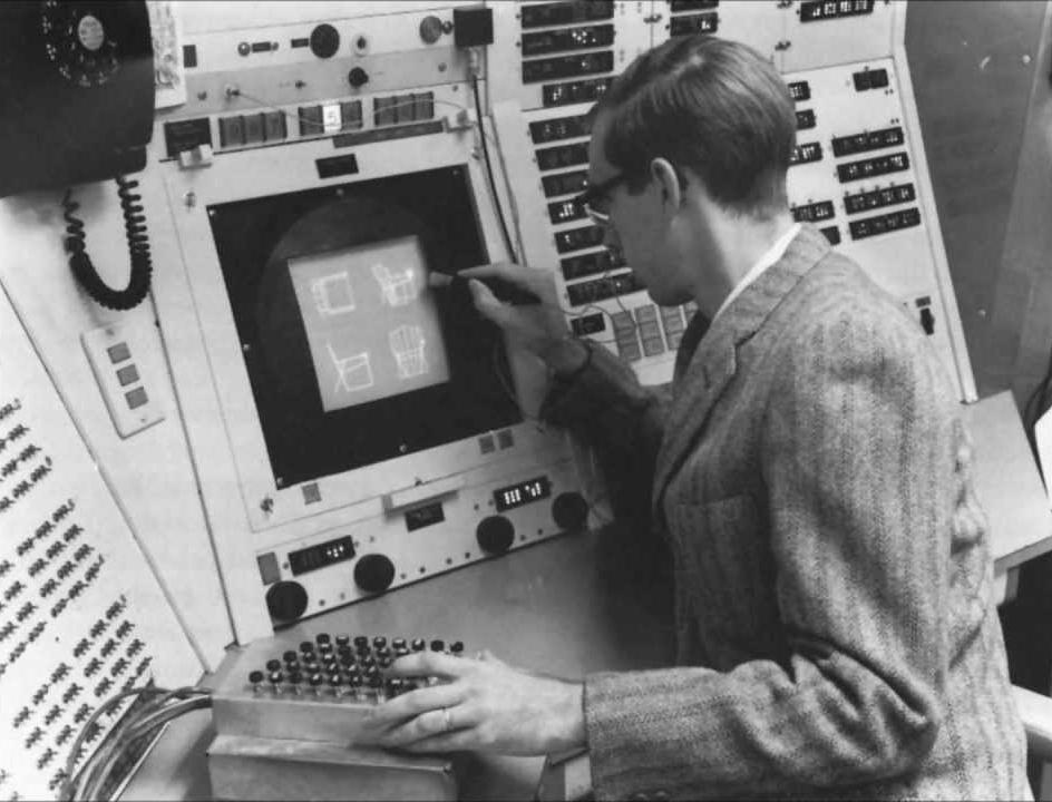 Ivan Sutherland met au point le premier logiciel graphique interactif avec stylo optique pour dessiner sur écran des schémas techniques, en 1963 au MIT.