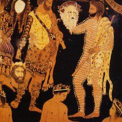 Cratère à volutes, vase attique figurant Dionysos et Ariane (détail): à gauche, un acteur représentant Héraclès et un satyre au corps recouvert de peau de chèvre et tenant un masque