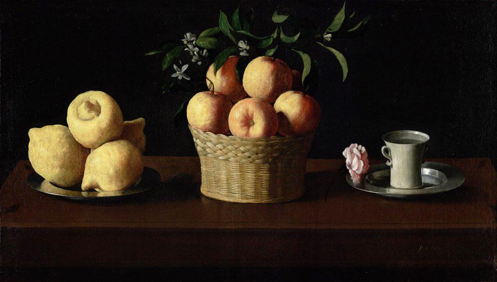 Francisco de Zurbarán (1598–1664) - Plat avec citrons, panier avec oranges et tasse avec rose (~1633), Norton Simon Foundation, Los Angeles