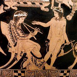 Cratère à volutes, vase attique figurant Dionysos et Ariane (détail): Pronomos, un joueur célèbre d'aulos, est assis juste en dessous de Dionysos
