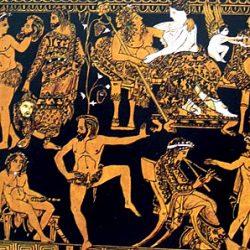 Cratère à volutes, vase attique figurant Dionysos et Ariane (détail): préparatifs d'un drame satyrique, pièce comique jouée après les trois tragédies (trilogie) pour compléter la tétralogie