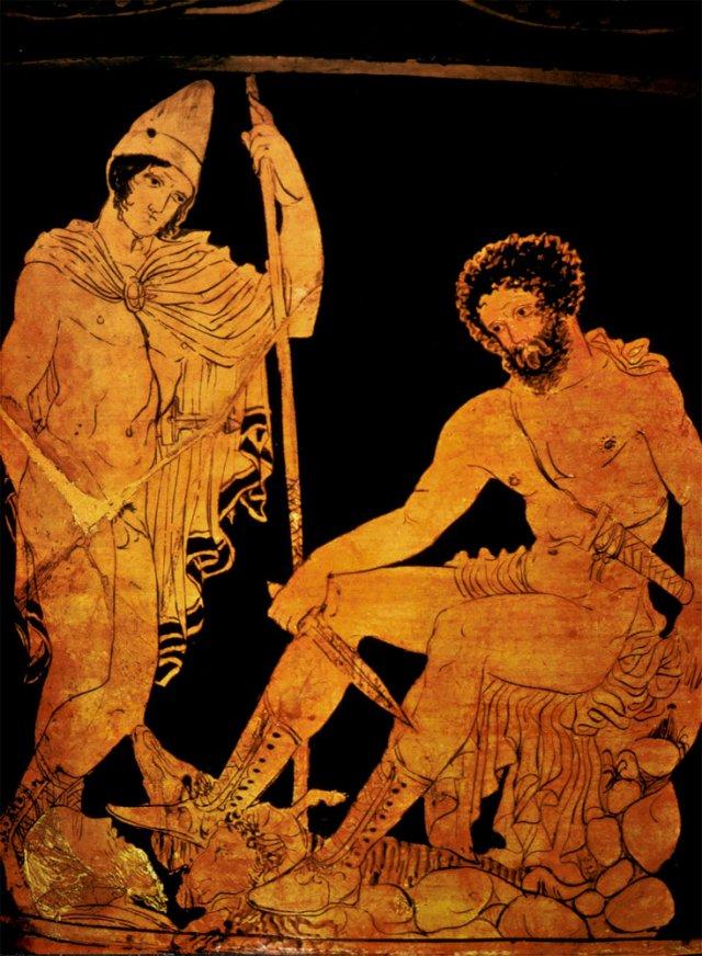Ulysse et Tirésias (détail sur un vase cratère, (440-390 av. J.C.), conservé à la Bibliothèque nationale de France