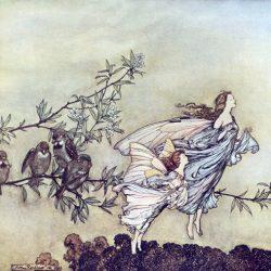 Arthur Rackham (1867-1939) - Les fées - Peter Pan dans les jardins de Kensington