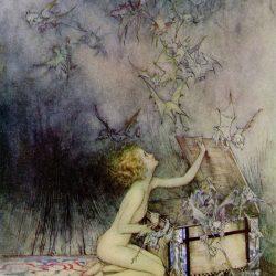 Arthur Rackham (1867-1939) - illustration du mythe de la boîte de Pandore