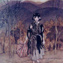 Arthur Rackham (1867-1939) - illustration d'un conte (soit Catskin extrait de More English Fairy Tales, recueil de contes rassemblés par Joseph Jacobs, soit du conte Allerleirauh ou Peau-de-Mille-Bêtes des frères Grimm)