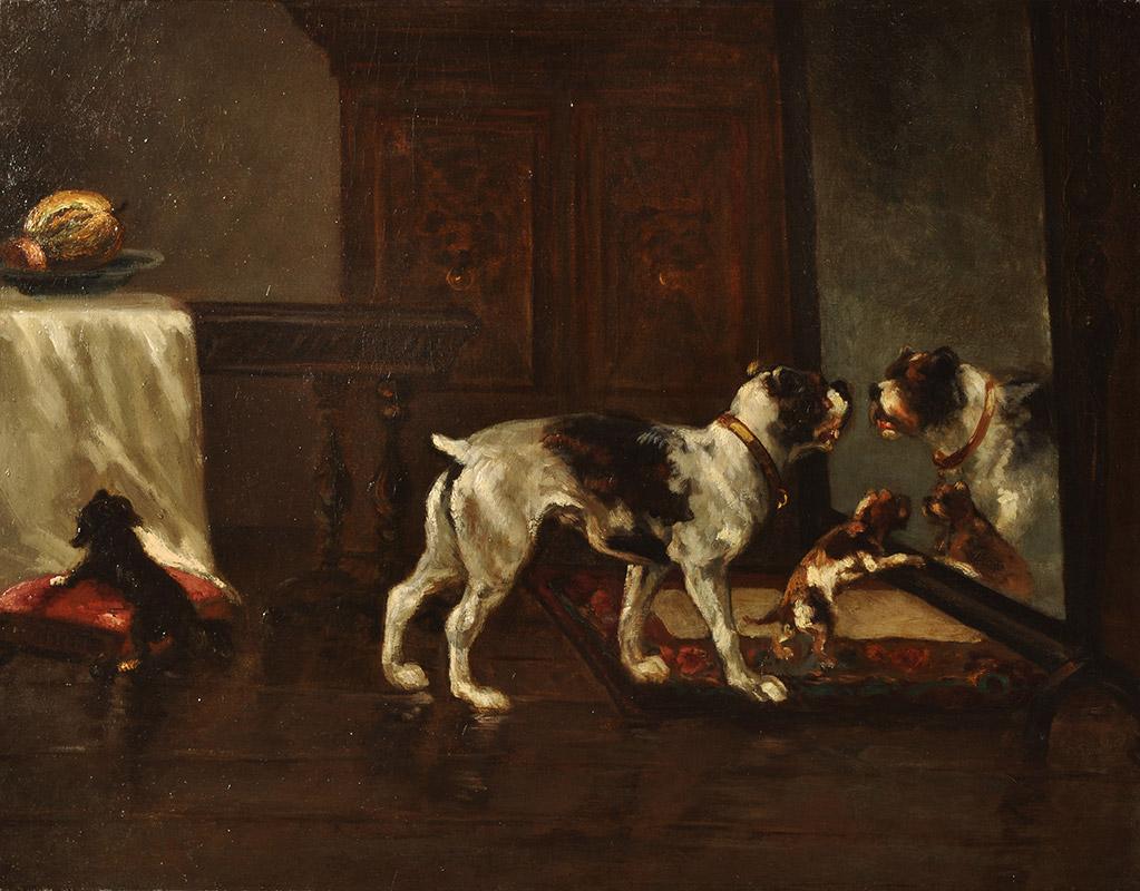 Joseph Edouard Stevens (1819-1892) - Chiens devant un miroir, Musée des Beaux-Arts de Dunkerque